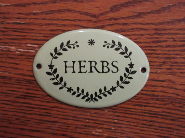 enamelware herb sign
